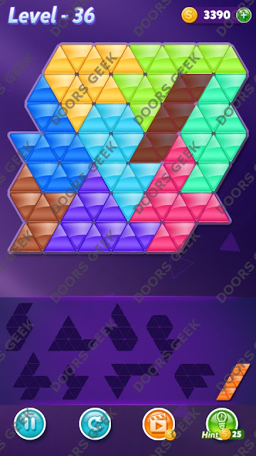 Block! Triangle Puzzle 9 Mania Level 36 Solution, Cheats, Walkthrough for Android, iPhone, iPad and iPod