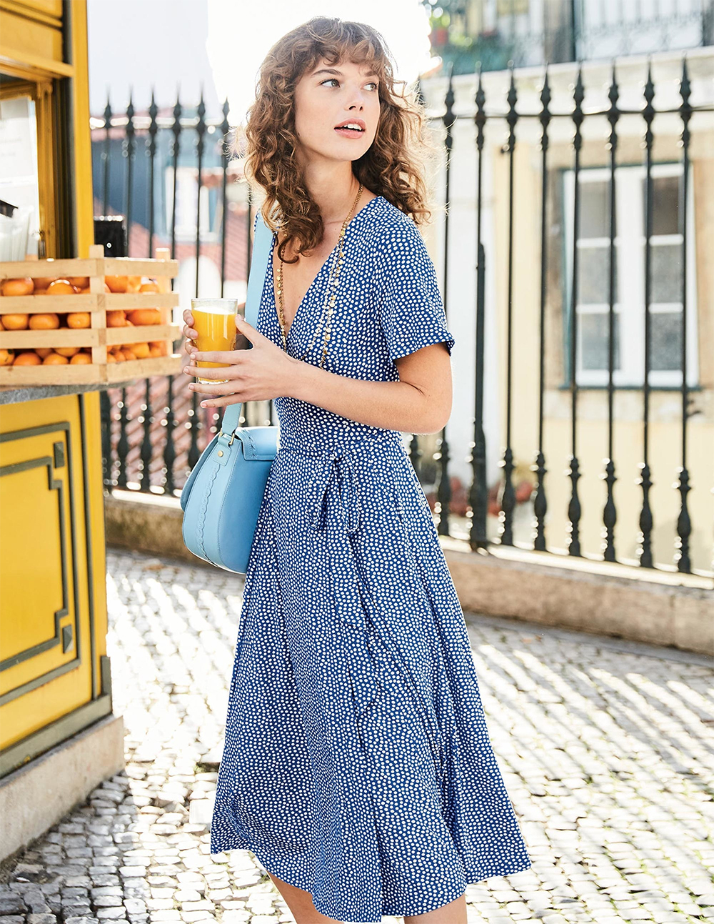 Boden blue and white printed Cassia Jersey Midi Dress - UK style blog