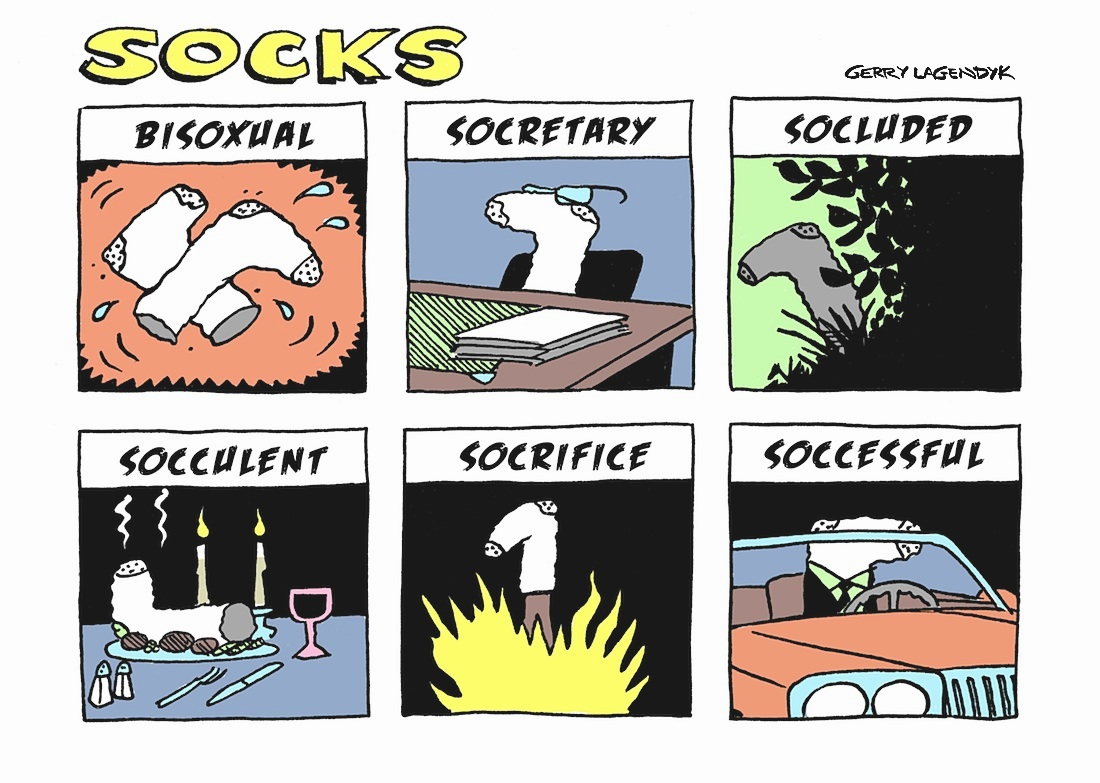 Gerry Lagendyk cartoon about socks