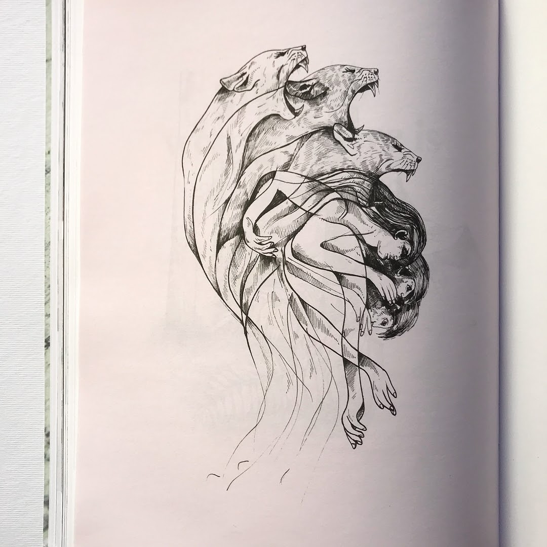 07-The-story-of-the-myth-of-Atalanta-Alfred-Basha-Diverse-Black-and-White-Surreal-Drawings-www-designstack-co