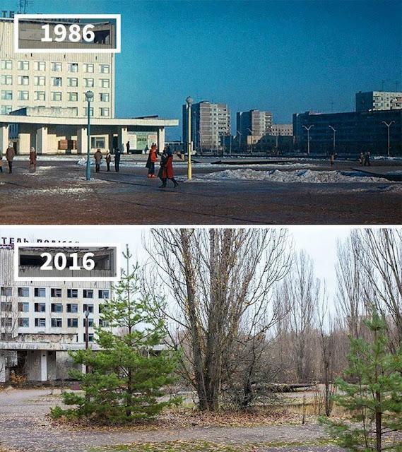 Antes y después Prípiat, Chernobyl