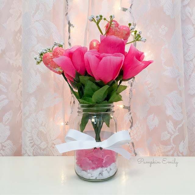 DIY Dollar Tree Valentines Flower Arrangement