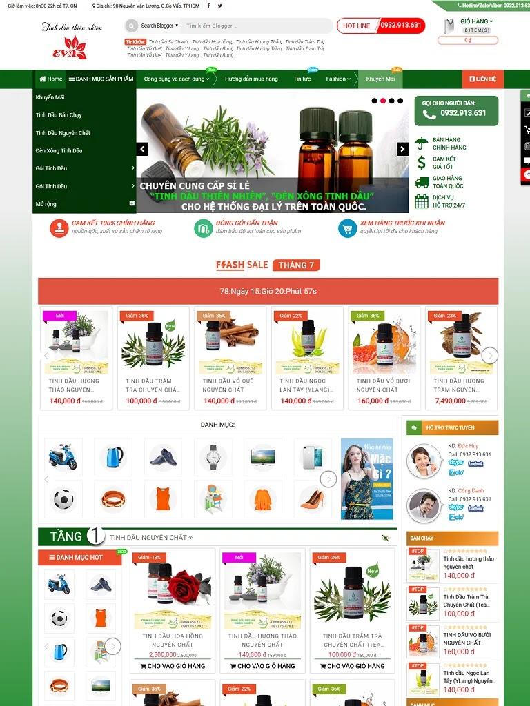 Template bán hàng Blogger TinhDauOnline Premium 2019