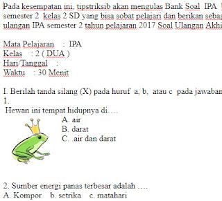 Soal-UKK-UAS-IPA-kelas-2-SD-Semester-2