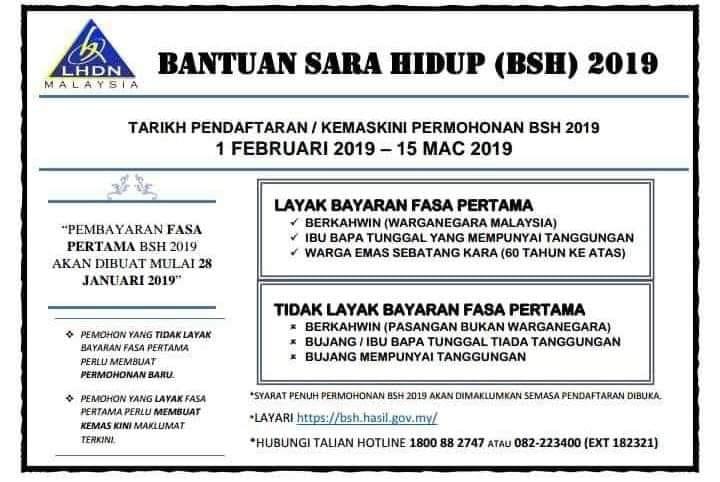 Bayaran Bantuan Sara Hidup (BSH) 2019 Fasa Pertama.. siapa yang layak terima?