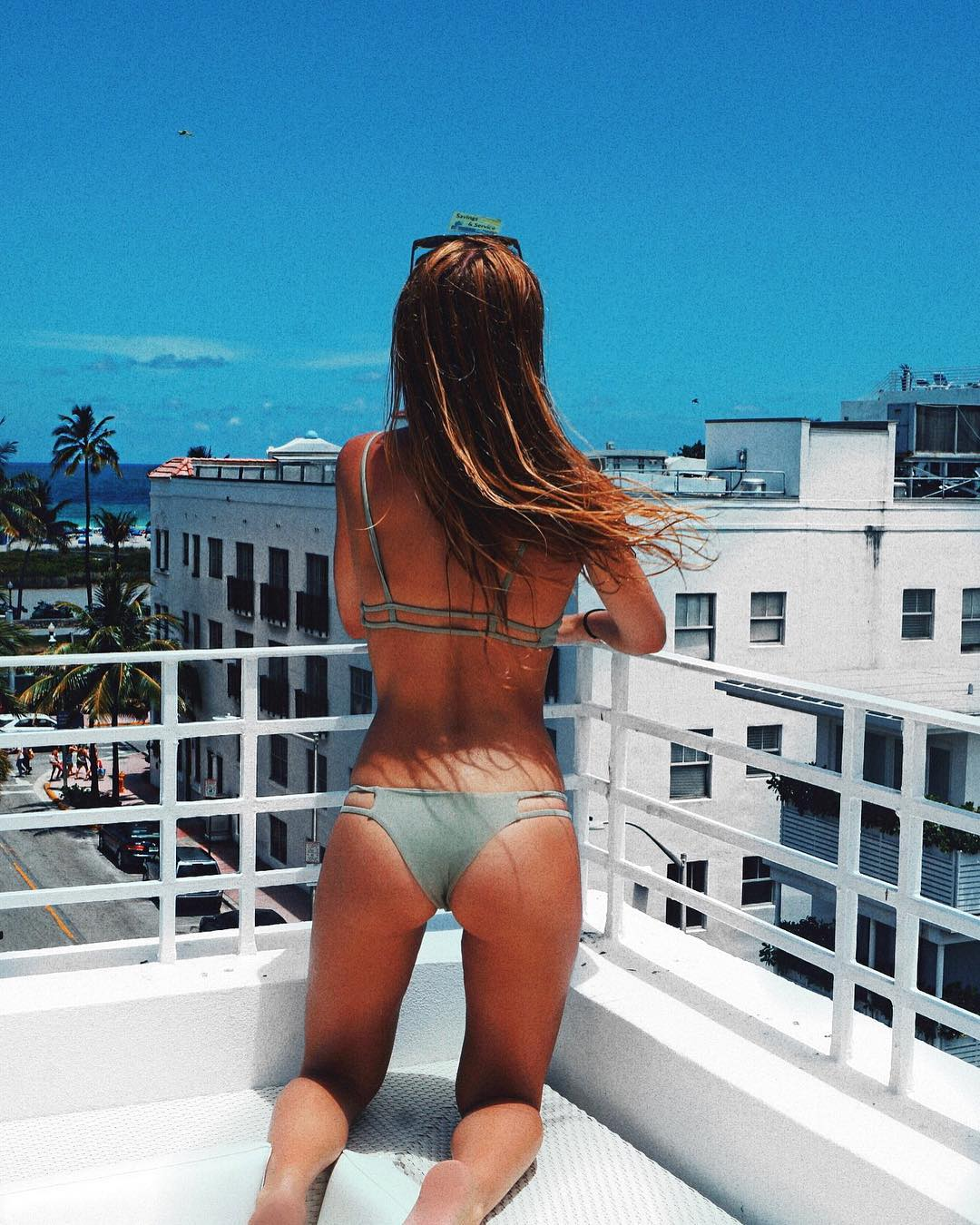 Alexis checking the view in Miami Beach, Florida