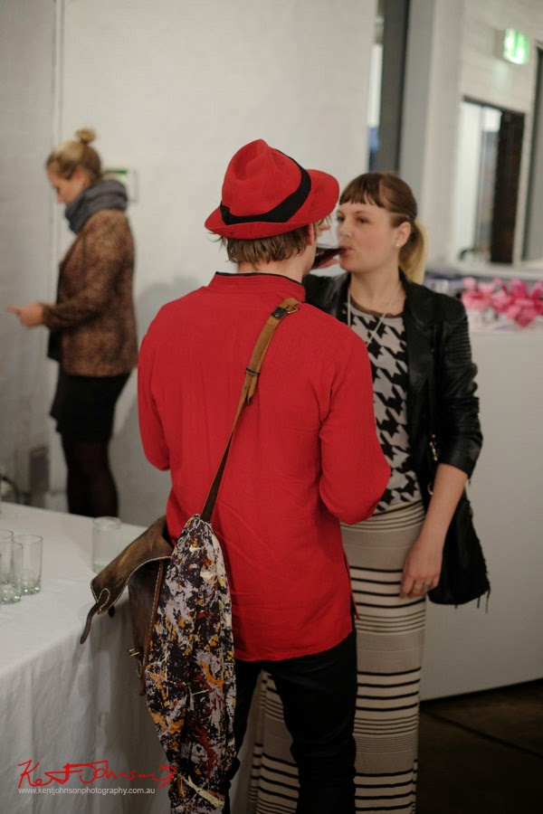 RED- Jacket and HAT- Martin Browne Contemporary - Kent Johnson for Street Fashion Sydney.