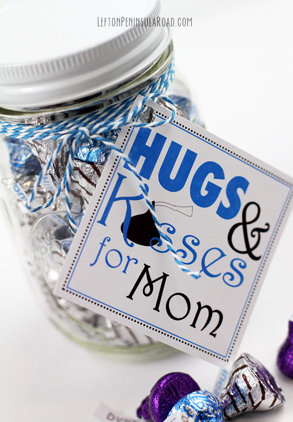 Add cute tags to chocolate-filled mason jars. Great Mother's Day gift idea!