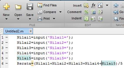 program rata-rata pada aplikasi matlab