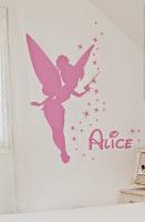 Sticker mural fée clochette avec prénom