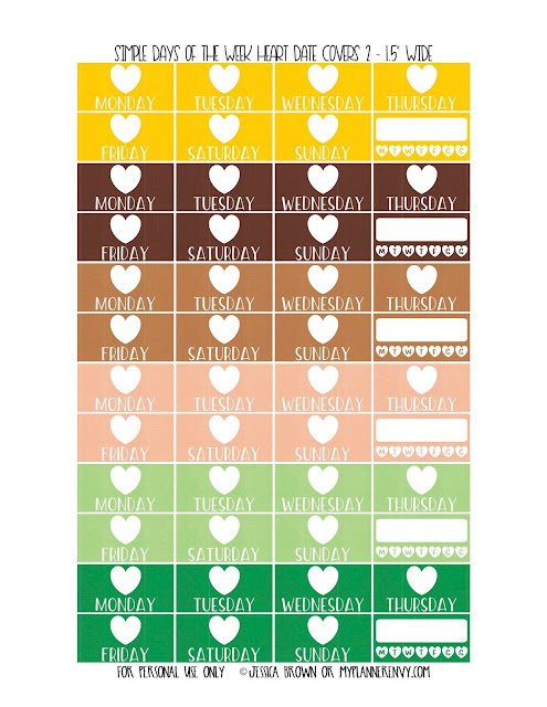 Free Printable Simple Days of the Week Heart Date Covers for the Vertical Erin Condren, Recollections Creative Year, & Classic Happy Planner Page 2 of 6 from myplannerenvy.com. Also available with a Circle instead of a Heart.