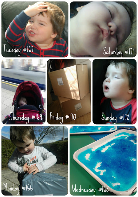 Small girl boy sleep sensory play blue jelly travel London Underground tube Opening parcel boxes