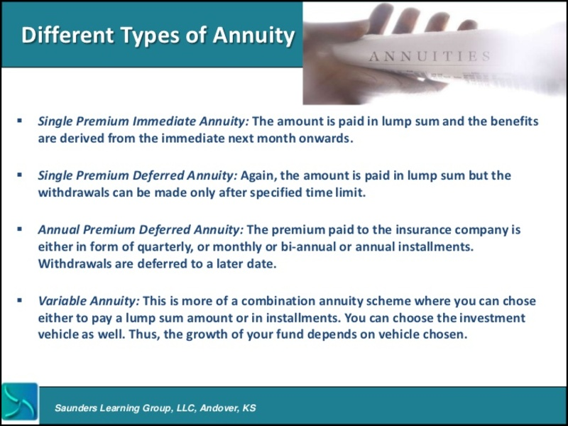 What Are the Different Kinds of Annuity