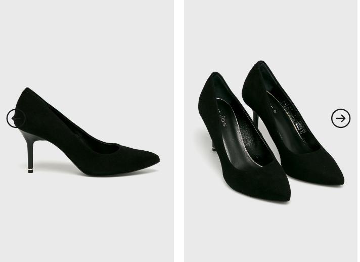Pantofi cu toc mediu eleganti piele intoarsa naturala negri de firma - Wojas