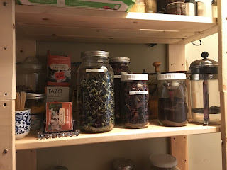 Jars of coffee and teas from zero waste vegan pantry https://trimazing.com