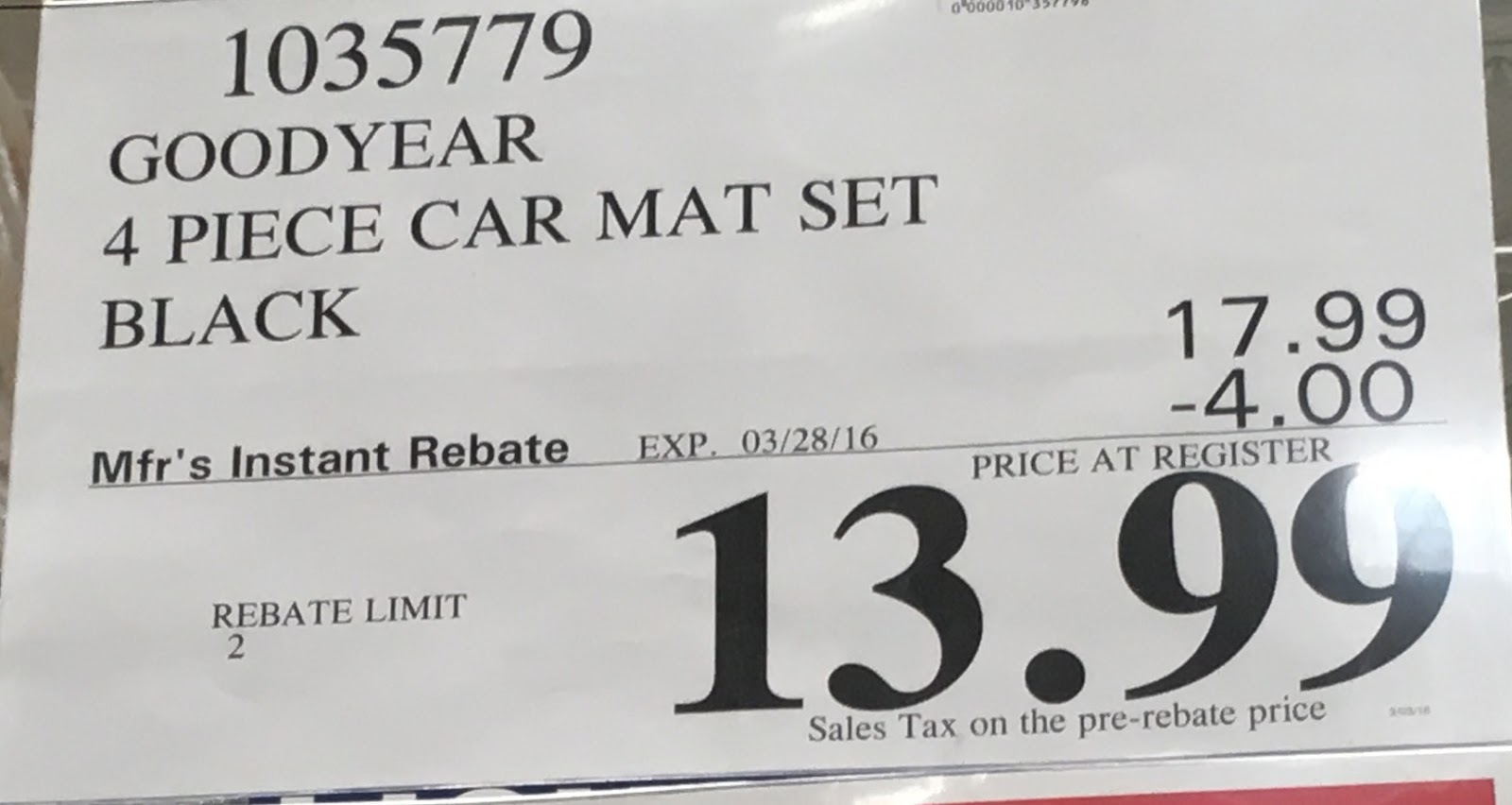 Rubber mats costco - Deal For The Goodyear Carpet Rubber Floor Mats At Costco