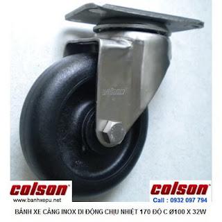 Bánh xe chịu nhiệt càng inox 304 xoay Colson Caster | 2-4456-53HT banhxepu.net