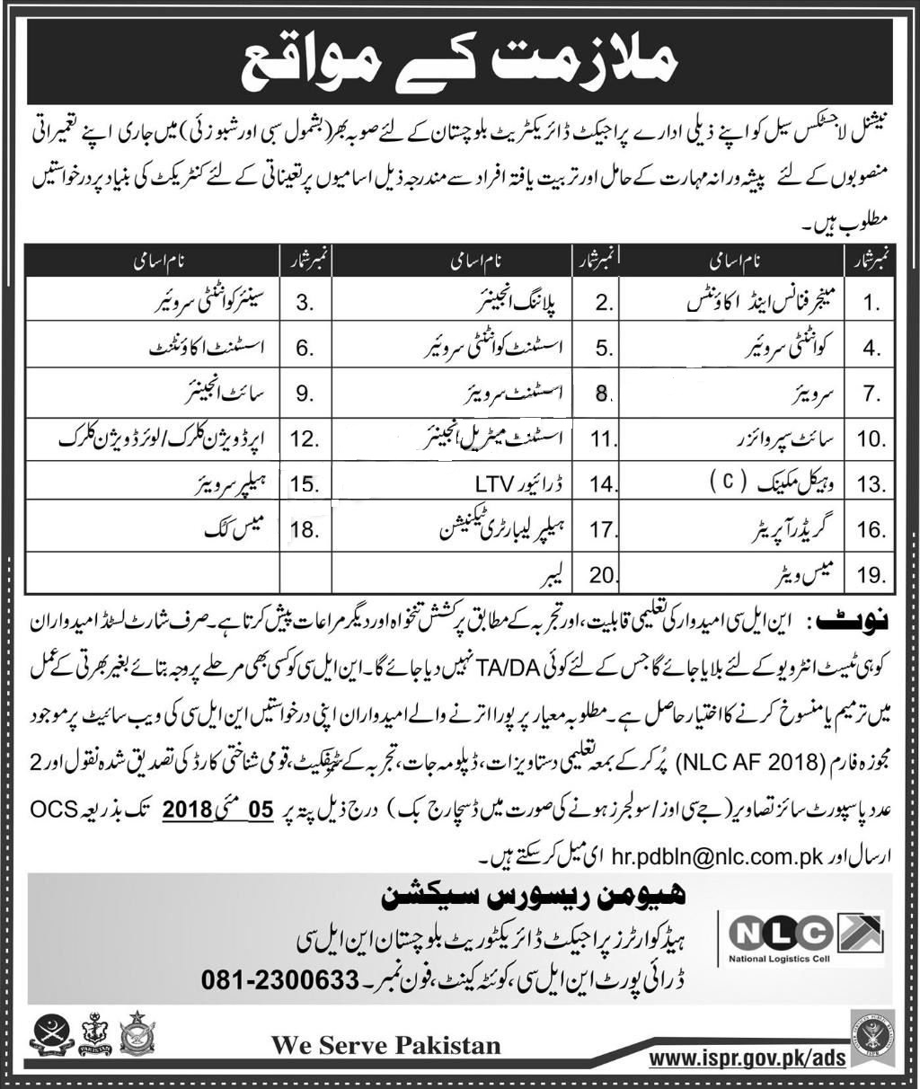 national logistic cell jobs
