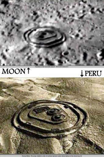 Foto Strutture Aliene sulla Luna confrontate con zona archeologica di Perù.