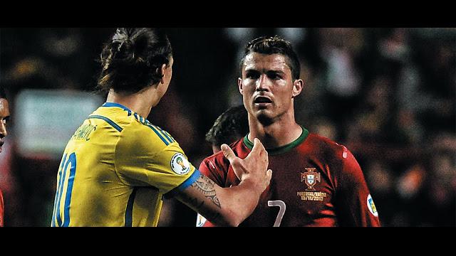 Zlatan Ibrahimovic and Cristiano Ronaldo Sweden vs Portugal playoff match