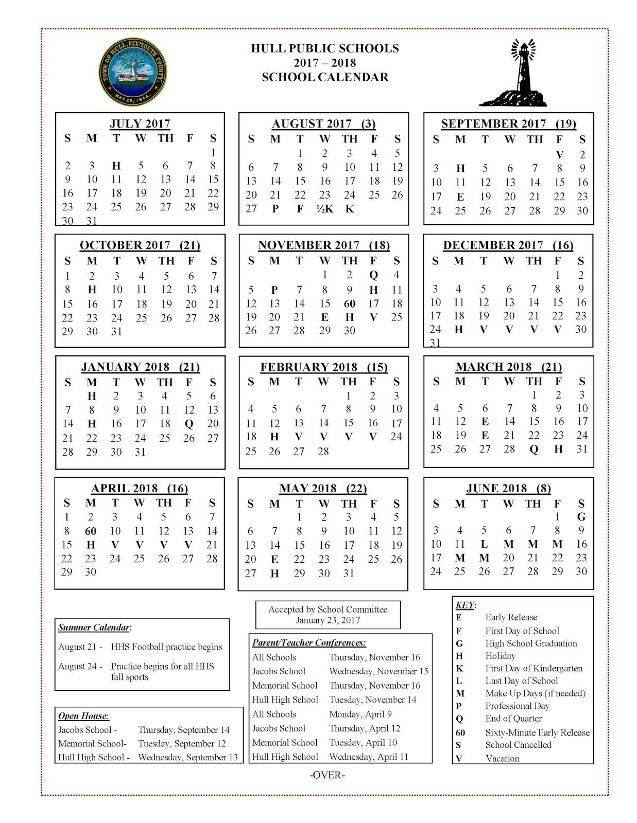 Hull Public Schools Blog: 2017 2018 School Calendar