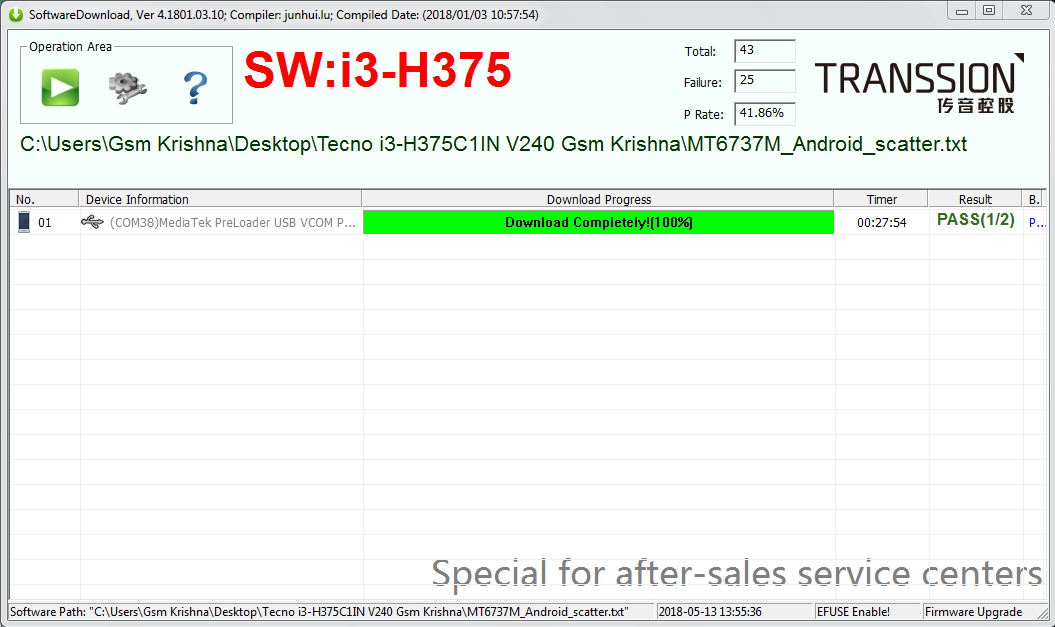 Tecno I3 Firmware Flash Tool Free 100% Tested Fix Frp Lock Dead Boot