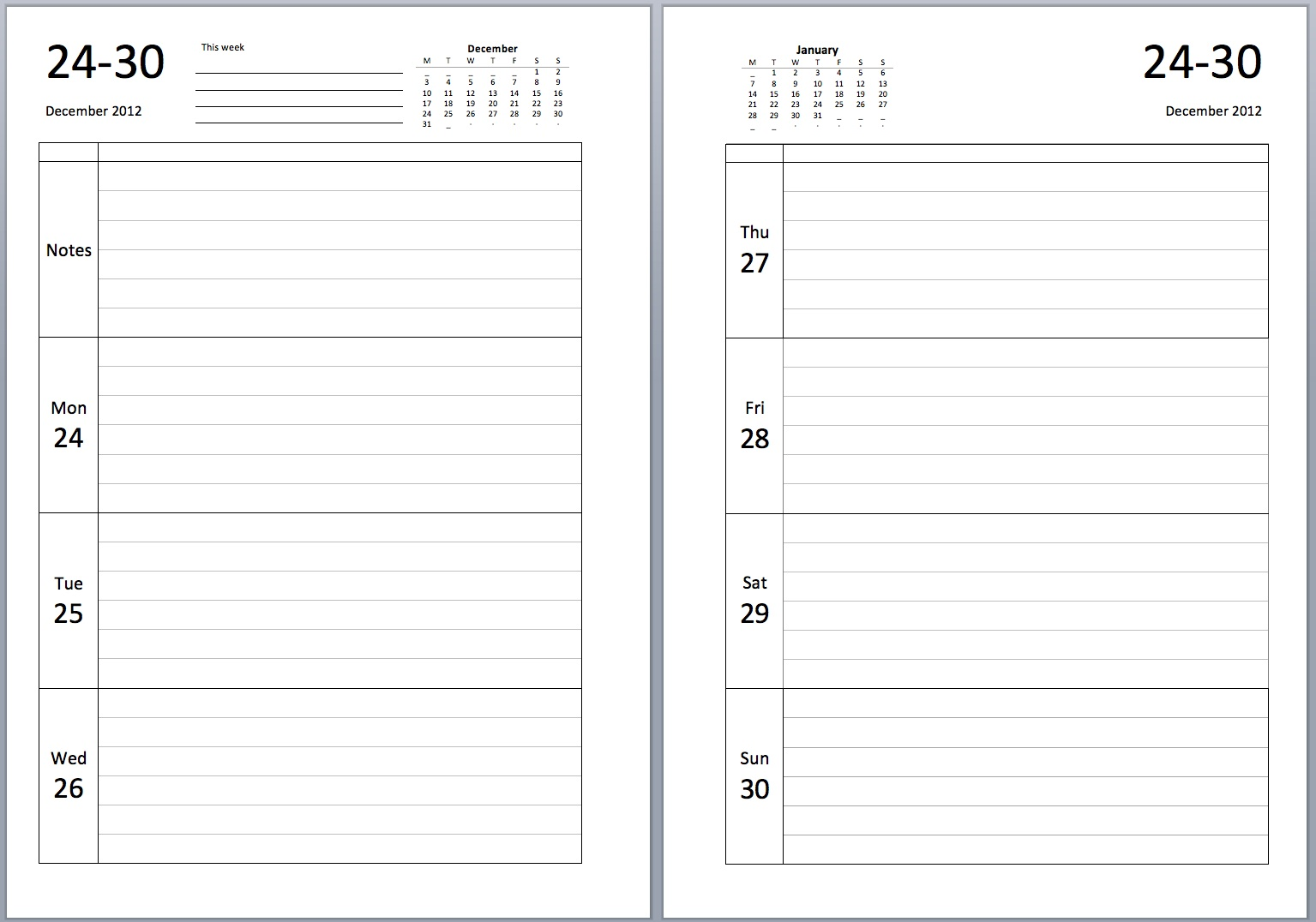Superb Diary Template For Word. Philofaxy Download Source Files For The New A5  Diary Layouts . To Ms Word Diary Template