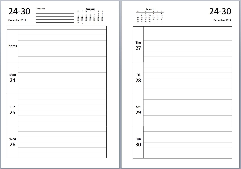 Philofaxy A5 Week Per View Journal Diary Insert