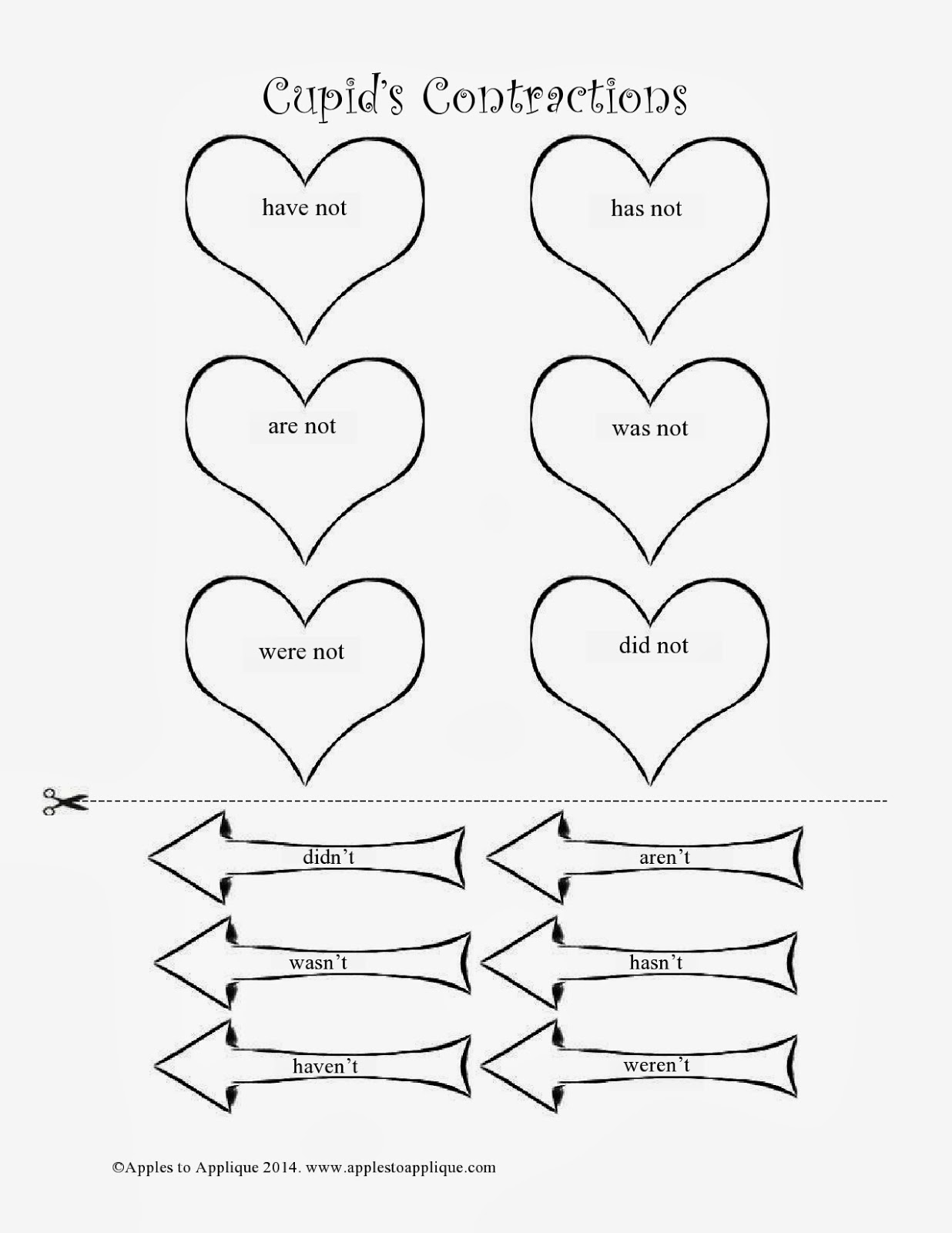 Apples To Applique Free Valentine Contractions Printable