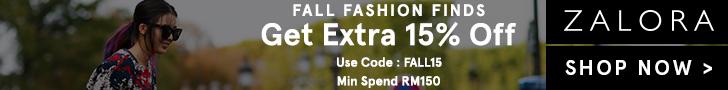 Zalora Malaysia - October 2016 Coupon Code 15% Discount : FALL15