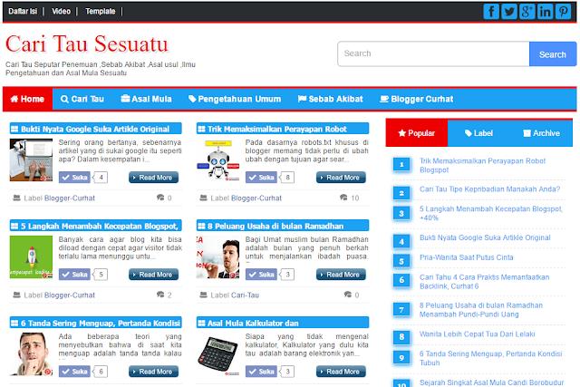 kalautau.com - Tampilan Template KalauTau versi 1.0