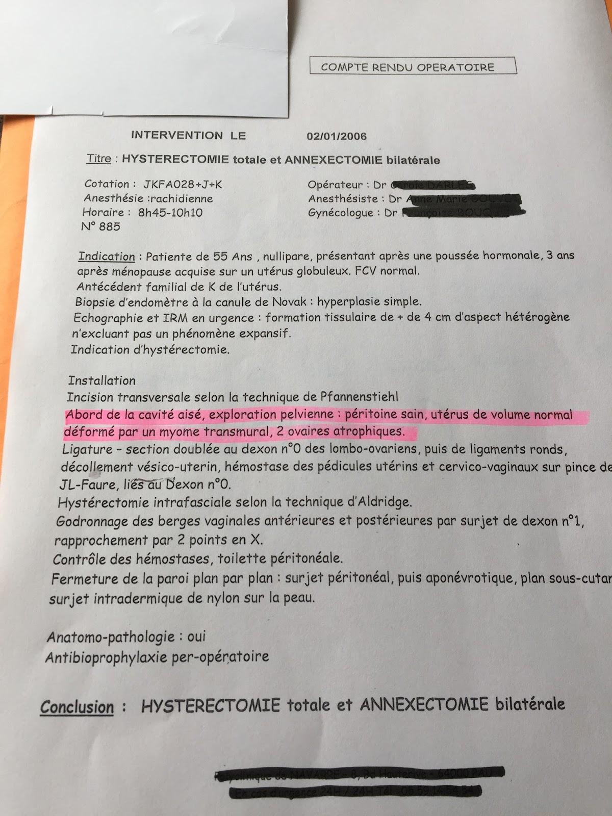 Hystérectomie totale : Compte-rendu opératoire franchement ...