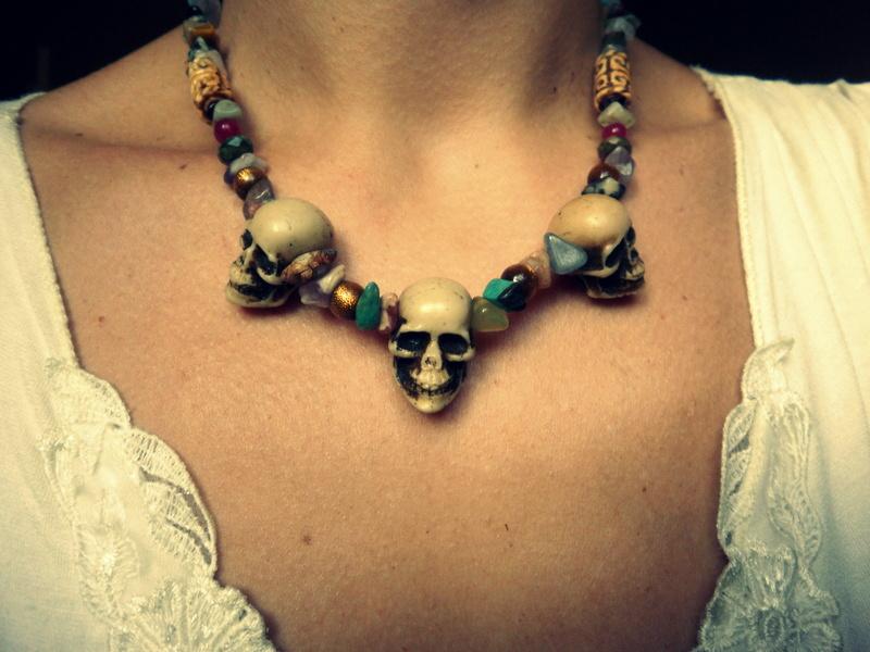 Luladark Jewels Triple Skull Aztec Necklace