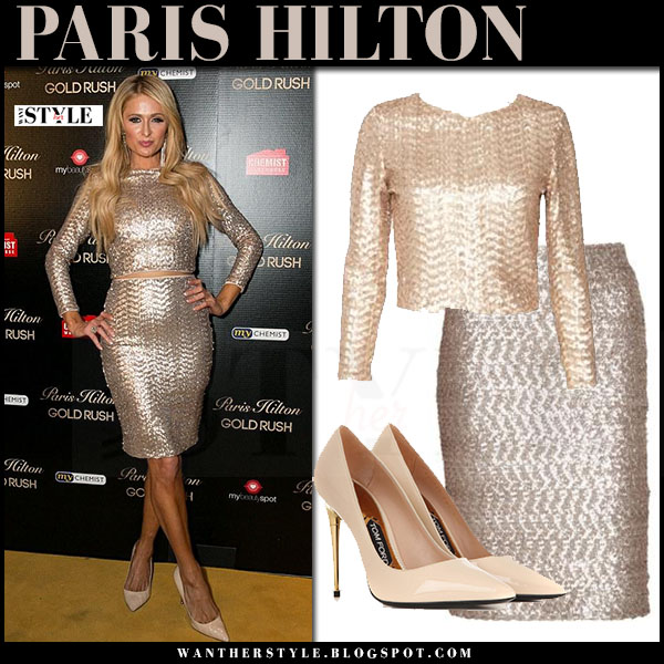 Paris Hilton in sequin crop top alice olivia lebell and sequin pencil skirt alice olivia ramos what she wore
