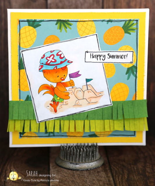 summer card using chicken on the sand digital stamp