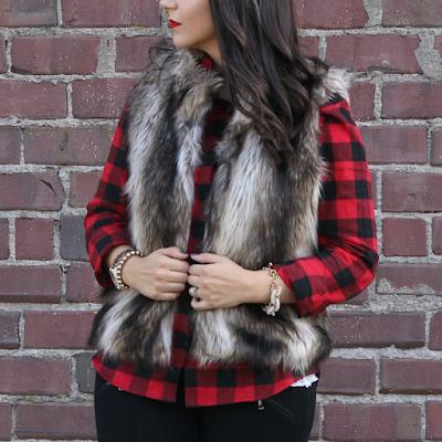 Buffalo Plaid Tunic online Fall Outfit Ideas Faux Fur Vest under $100