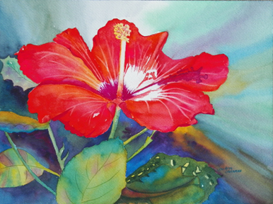 Paint A Thousand Words Red Hisbiscus Tropical Flower Watercolor