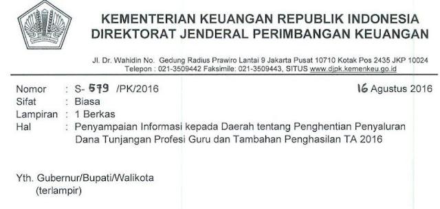 gambar surat edaran Perhentian TPG dan DTP 2016