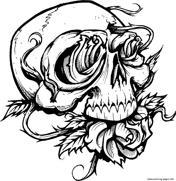 Print Sugar Skull With Roses Coloring Pages
