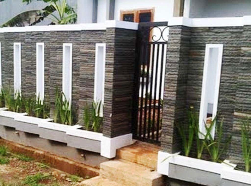 Model Pagar Tembok Minimalis Batu Alam