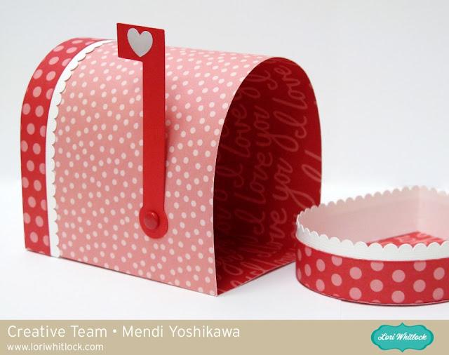 Valentine's Day Gift Box by Mendi Yoshikawa (using Lori Whitlock mailbox cutting file & Pebbles papers)