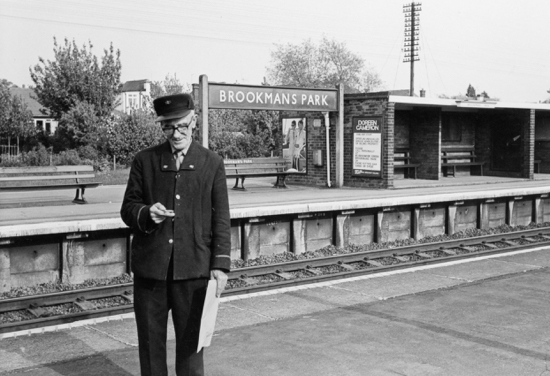 Photograph of Ernie Wicks at Brookmans Park Station on 22 May 1969. Ernie retired a few weeks later on June 13. Image from Ron Kingdon part of The Images of North Mymms Collection