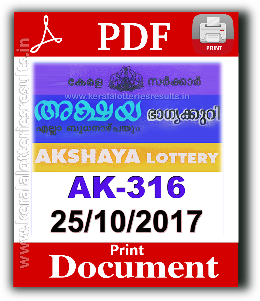 25.10.2017: Akshaya AK 316 Lottery Results Official PDF