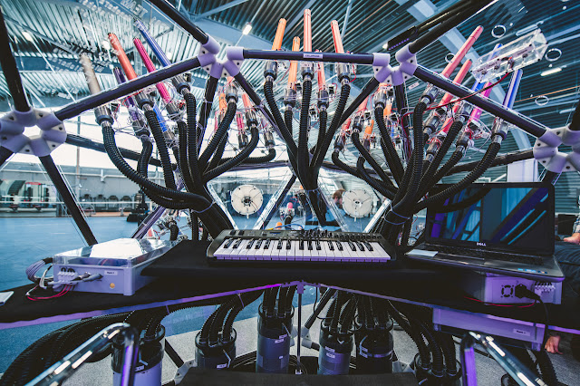 Acoustic machine created by Dyson Ltd. for the Orion Orchestra's forthcoming concert