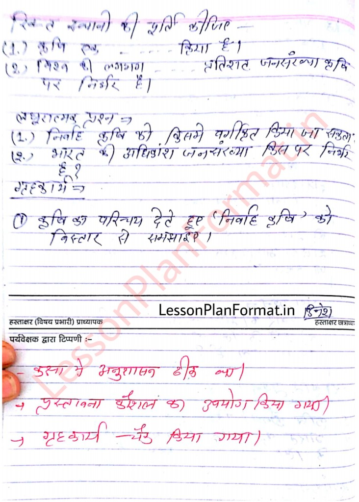 Class 8 Social Science Lesson Plan Format