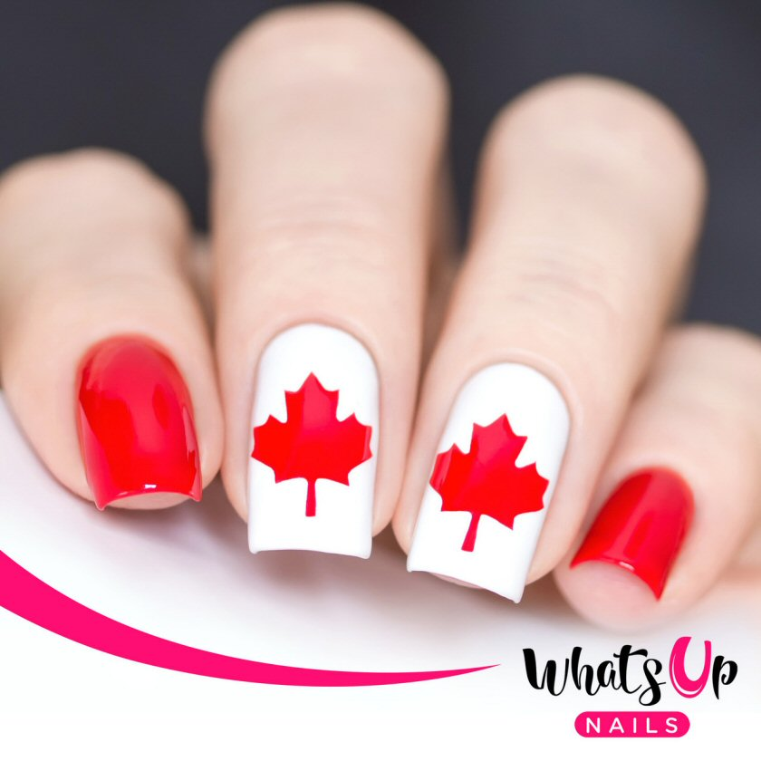 bbloggers, bbloggerca, beauty blog, canada blogger, canada day, what's up nails, decals, vinyls, stencils, maple leaf, nail polish canada, giveaway, code, nails, july 1st