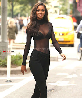 Lais Ribeiro in transparent Top Sexy Cleavages going to meet Victorias Secret Office in New York