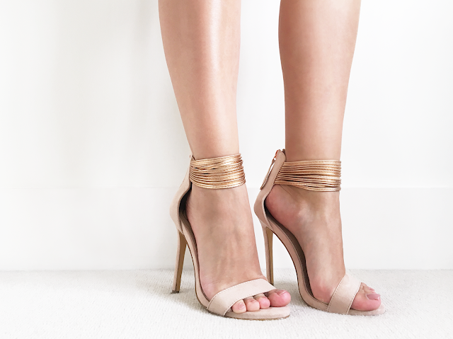 Missguided Rose Gold Ankle Strap Heels