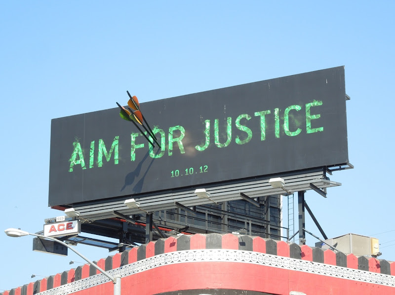 Arrow Aim for Justice special installation billboard