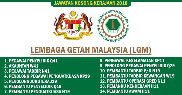 jawatan kosong lembaga getah malaysia 2018